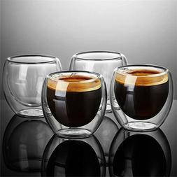 1-6×Heat Resistant Double Glass Coffee Tea Cup Wine Glass I