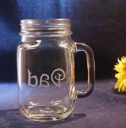 1 Personalized Glass Mason Jar Mug with handle, Free Persona