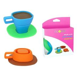 2pc Tea Cup / Coffee Espresso Mug with Saucer, Collapsible S