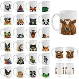 11 OZ Animal Design Ceramic Travel Mug Home Tea Coffee Cup F