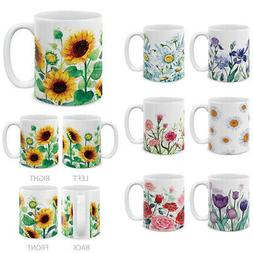 11 Oz Flowers Design Mug Creative Ceramic Coffee Water Porce