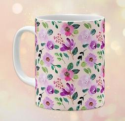 11 oz Watercolor Floral Coffee Mug •  Pattern Flowers Art