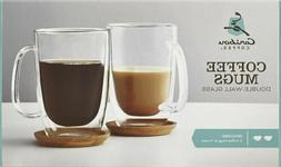 Caribou Coffee 12 0z. Coffee Mugs Double Wall Glass  Include