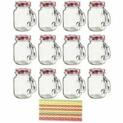 12 Mason Jars Mini Mugs Clear Glass with Handle, Lids & Stra