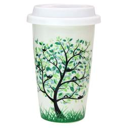 12 oz Coffee Cup, Simple Trees Double Insulated Ceramic Mug