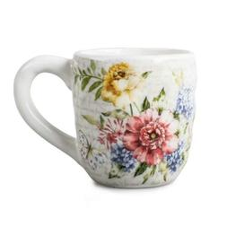 12 OZ Porcelain Flower Butterfly Meadow Accent Mug, White.