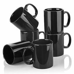 YHY 12 oz Porcelain Mugs for Tea and Coffee, Set of 6, Black