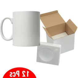 12 PCS 11oz Blank Sublimation Mugs With Foam Supports Cardbo