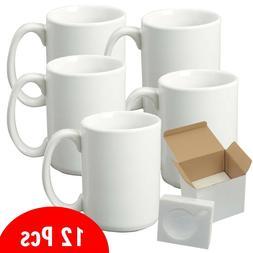 12 PCS AAA 15oz blank white sublimation mug With Foam Suppor