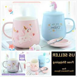 13oz 3D Rainbow Unicorn Mug Coffee Tea Office Cup with Lid &
