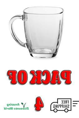 Coffee Mug Set 4 14-Ounce Square Shape Clear Glass Dinnerwar