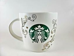 Starbucks 14oz Ceramic Coffee Tea Mug Cup White Swirl Siren