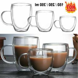 150/350ml Glass Coffee Mug Clear Double Wall Insulated Therm