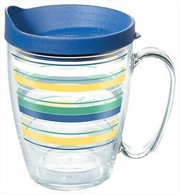 Tervis 16 oz. Fiesta Striped Mug With Lid 16 oz. Mug Blue/ye