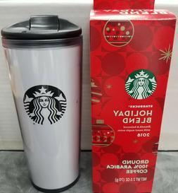 16 Oz. Starbucks Plastic Travel Mug Tumbler White with Logo