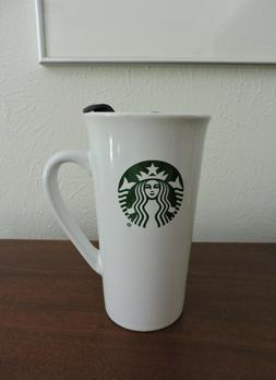 Starbucks 16 Oz White Green Logo Ceramic Travel Mug Handle a