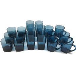 Anchor Hocking 18 Rio Coastal Glasses Set Blue Mugs Tumblers