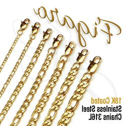 18K Gold Plated Stainless Steel 316L Figaro Chain Necklace M