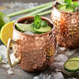 18oz Moscow Mule Coffee Mug Cup Drinking Hammered Copper Bra
