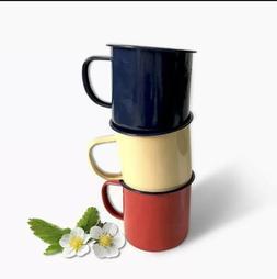 1960's Vintage Red  ENAMEL Metal Coffee Mug - Camping, Pic