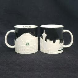 2 Starbucks 2012 Seattle Skyline Relief Collector Series 16o