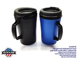 ThermoServ 2 Foam Insulated Coffee Mugs 34 oz  Blue &  Black