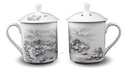 2 Bone China 14-ounce Tea Cups Coffee Mug  Snow Scene Porcel