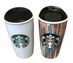 2 Starbucks Ceramic Travel Tumbler Mugs 12 oz 2015 Paint Dri