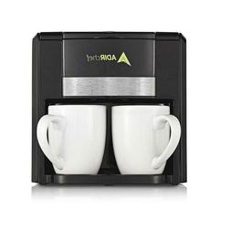 2 Cup Black Coffee Maker With Adirchef Automatic Shut Off Fe