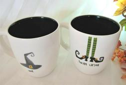 2 Rae Dunn Halloween Black Mugs Witch Shoes HOCUS POCUS & BO