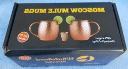 2 Hammered Moscow Mule Mug Drinking Cup 100% Pure Solid Copp