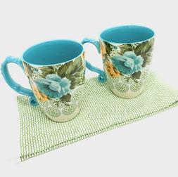 2 jumbo latte coffee mugs with coordinating