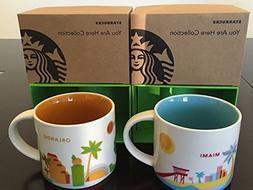 2 Mug Set: 1 Miami+ 1 Orlando You Are Here  14 Oz. Starbucks