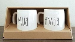 Rae Dunn by Magenta 2 Mug Set BEACH and BUM in large letters