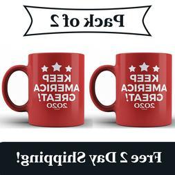 2 Pack - Keep America Great! 2020 Red Ceramic Coffee Mug MAG