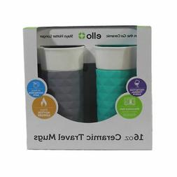 2 Pack of Ello Ogden 16oz BPA-Free Ceramic Travel Mugs with