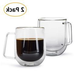 2 PCS Double wall Glass Coffee Cups Mug Espresso Handle Heat