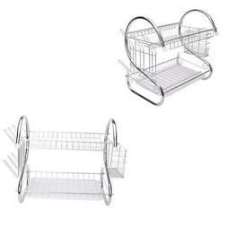 2 Tiers Kitchen Dish Cup Drying Rack Holder Metal Dish Mug M