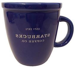 Starbucks 2001 Barista Coffee Mug: Blue with Silver Letterin