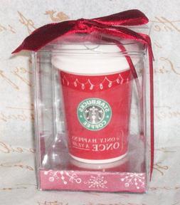 Starbucks 2005 Red To-Go Cup Mug Ceramic Ornament