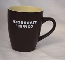 STARBUCKS 2008 Brown Coffee Cup Mug 12 oz. White Letter Logo