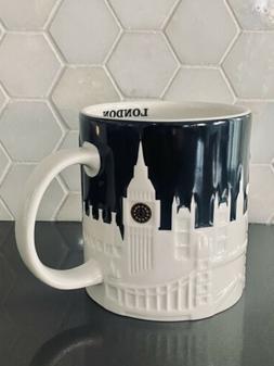 2011-Starbucks London Black Relief Mug Cup City Collection R
