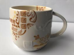 [2012 Starbucks Coffee Cup Mug Three Regions Aztec White Gol