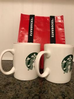 Starbucks 2014 Mugs Lot White Porcelain Mermaid 14oz + Tote