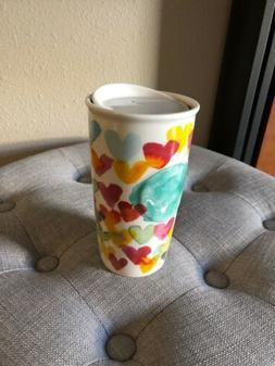 Starbucks 2015 Watercolor Hearts Ceramic Travel Mug Tumbler