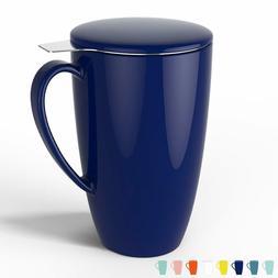 Sweese 2104 Porcelain Tea Mug with Infuser and Lid, 15 OZ, N