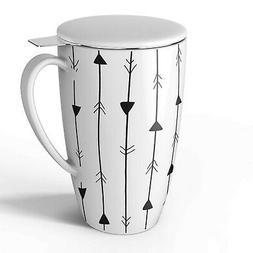 Sweese 2151 Porcelain Tea Mug with Infuser and Lid, 15 OZ Ar