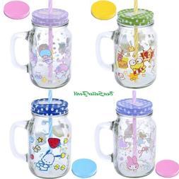 21oz Sanrio Mason Jar Glass Drinking Mug Cup w/Straw 2-Lids