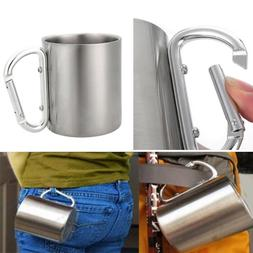 220ml Carabiner Hook Double Wall Picnic Outdoor Camping Cup
