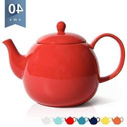Sweese 2312 Porcelain Teapot, 40 Ounce Tea Pot - Large Enoug